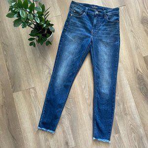 Lucky Brand Mid-Blue Wash Raw-Hem Skinny Jeans